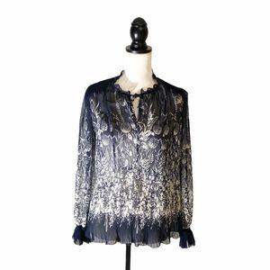 JOIE Crepe Ruffled Accordion Floral Sheer Blouse